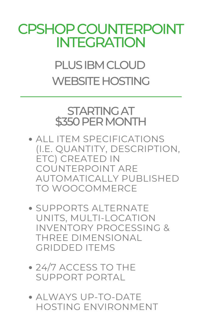 CPShop Counterpoint Integration Pricing with IBM Cloud Website Hosting