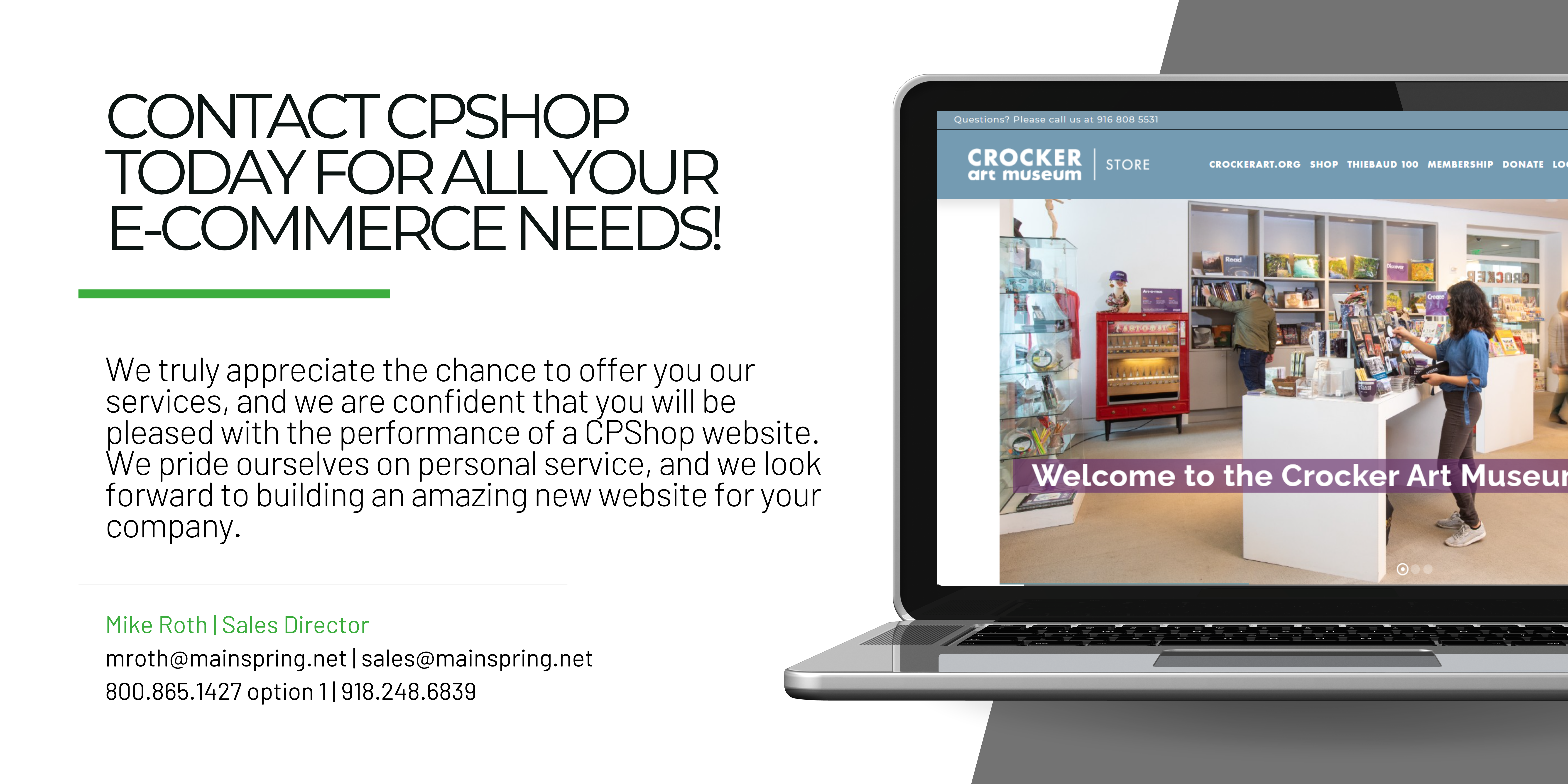 Contact CPShop for E-commerce Website