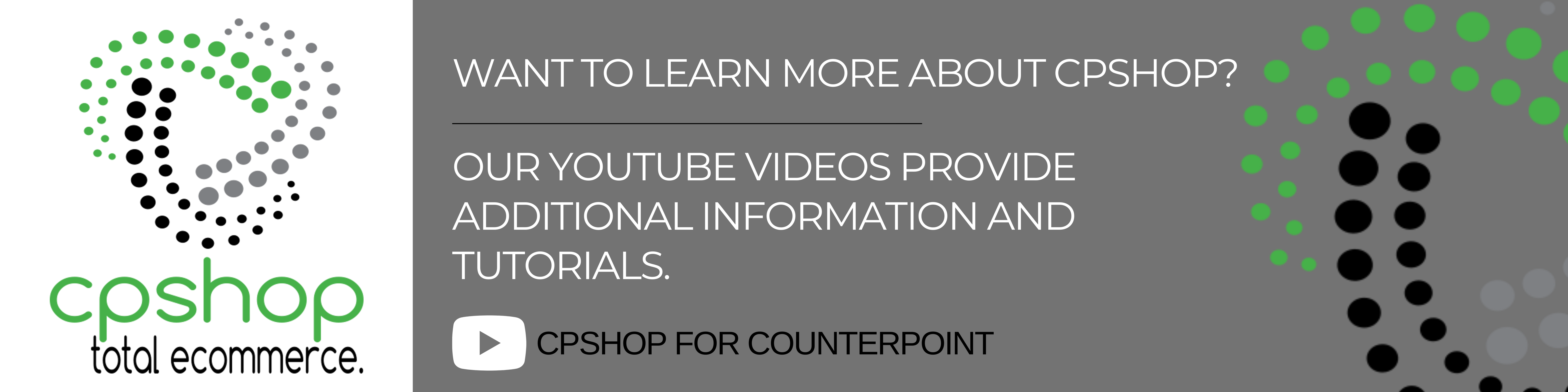 CPShop YouTube Tutorial and Informational Videos